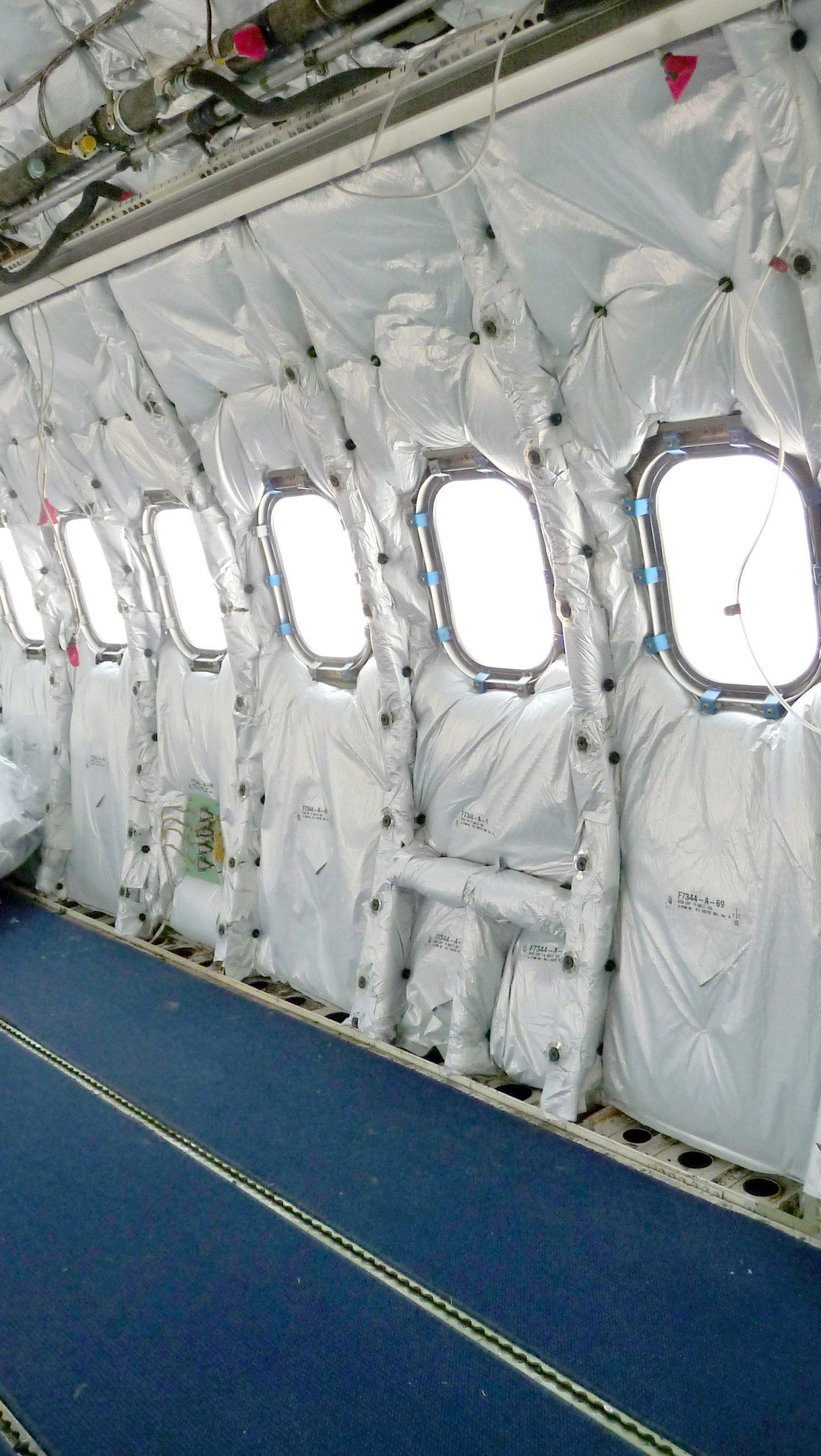 Aircraft interior showing insulation