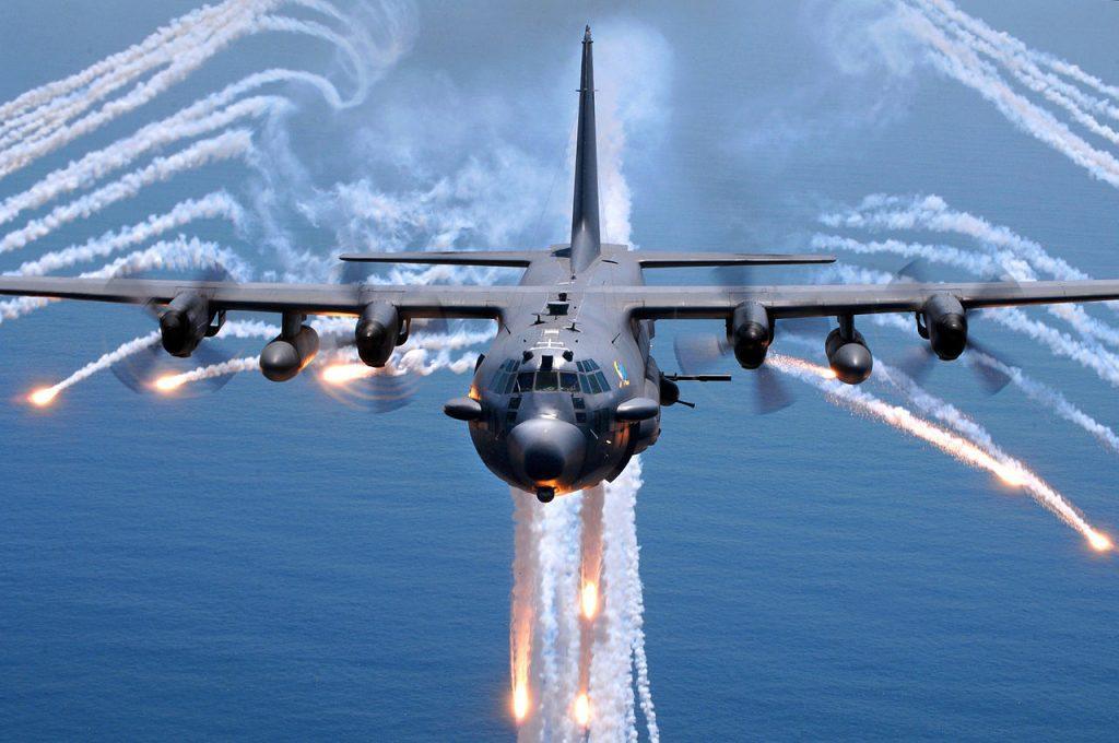 C-130 deploying countermeasures